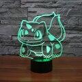 Lámpara de mesa juguetes figuras 2016 Nuevo Pikachu Pikachu Ir Bulbasaur 3D LED 7 que cambia de color ambiente de fiesta de cumpleaños decoración