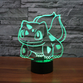 Pikachu Go Bulbasaur figurines table lamp toys 2016 New Pikachu 3D LED 7 color changing birthday party atmosphere decoration