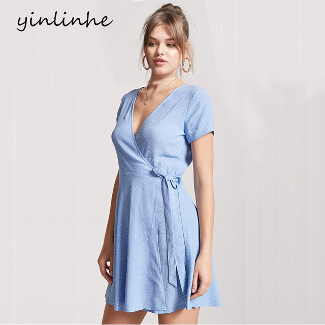 yinlinhe Polka Dot Wrap Dress Blue V Neck Sexy Summer Dress Women Short Sleeve Bow Slim Waist Elegant Bobo Vestidos          383