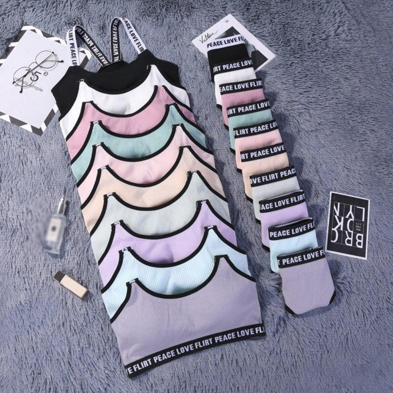 Fashion Letter   Bra     Set   Top Push Up Fitness Active   Bra   Underwear For Women Sportswear   Set