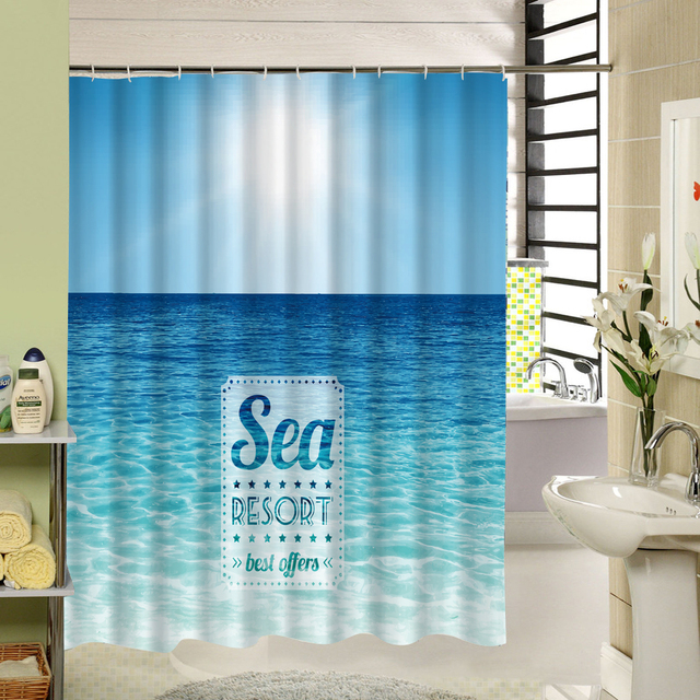 Eine Ruhige Ozean In Sonnigen Am Nachmittag Wasserdicht Duschvorhang  Tropical Beach Muster Bad Vorhang Gesetzt Kunst