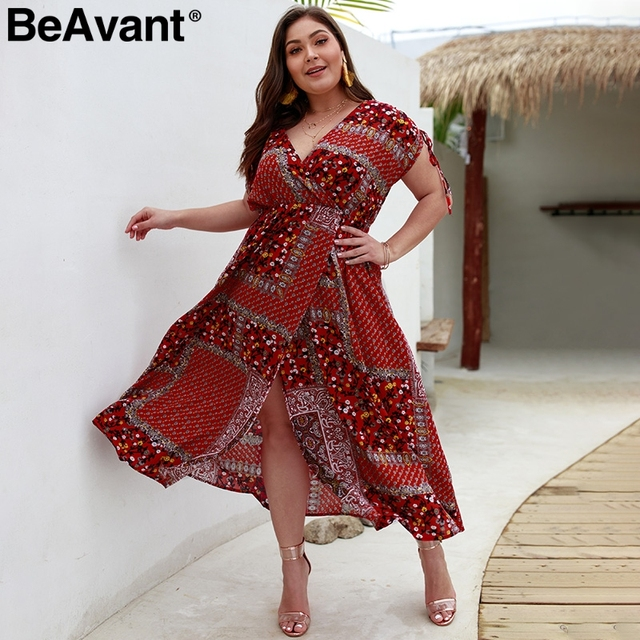 BeAvant V-neck floral print women summer dress Plus size split maxi dresses 2019 Casual beach wear boho dress ladies vestidos