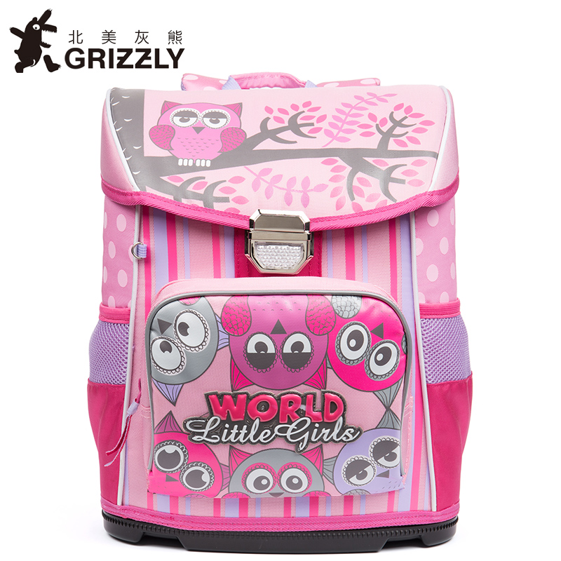 GRIZZLY New Fashion Girls Students Cartoon School Bags Orthopedic Waterproof Primary School Backpacks for Children Grade 1-4 russian style cartoon butterfly kids school bags for girls waterproof foldable orthopedic school backpacks for 1 5 grade studets