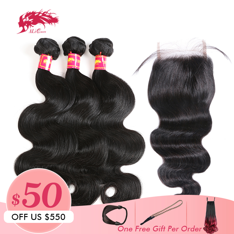 Ali Queen Hair Products 3Pcs Brazilian Body Wave Remy Hair Bundles With 4x4 Lace Closure Free
