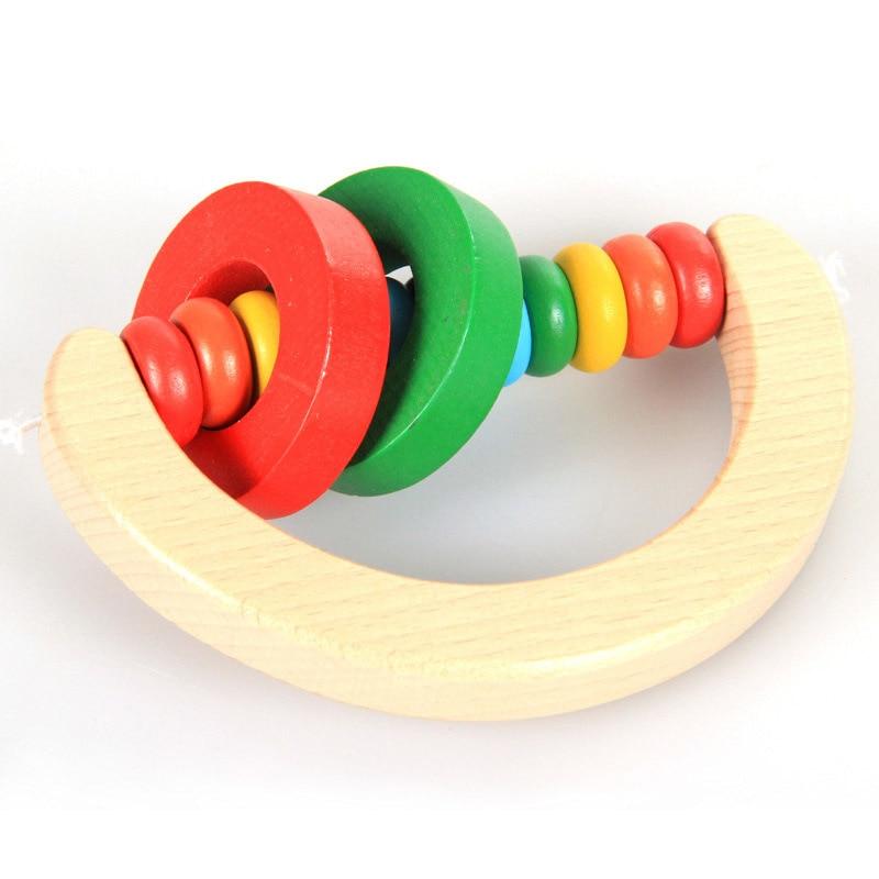 Новорожденных Малыш Детские деревянные игрушки Колокольчик Деревянный Погремушка колокольчик музыкальные развивающие инструмент малыше...
