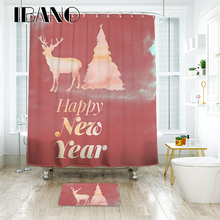 IBANO Happy New Year Shower Curtain Waterproof Polyester Fabric Bath Curtain For The Bathroom With 12 pcs Plastic Hooks waterproof happy halloween ghost bath curtain