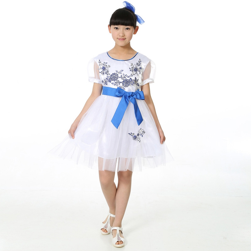 Childrens Chorus Clothing Boys Girls Blue White Porcelain Classical Chinese Zither Performance Host Customer