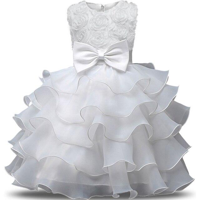 Bianco Del Bambino Petalo Vestito Dalla Ragazza Bebes Da Sposa 1 anni di Compleanno  Della Principessa 7a515156d5a