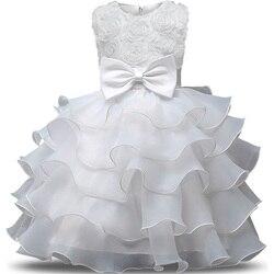 Bebê branco petal menina vestido bebes casamento 1 anos de aniversário vestido de princesa baptizado tutu vestido crianças vestidos para meninas roupas