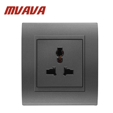 MVAVA Multi-functional 5 Pins wall socket Electrical wiring light Power Outlet 13A 110~250V,Fire-proof PC panel Free shipping !