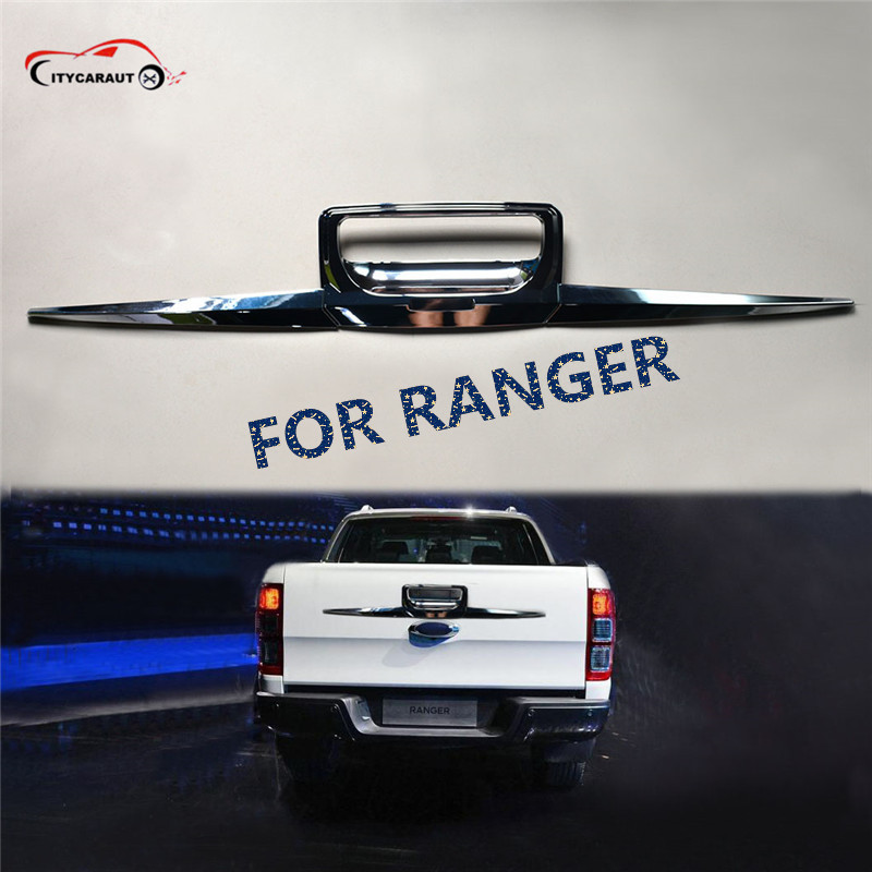 FIT FOR 2012-2017 FORD RANGER Black Rear trunk lid ABS Back trunk lid back rear trim FOR RANGER accessory accessories T6 T7 XLT fit for ford ranger t7 2015 2017 handle bowl fog lamp headlight tailigt cover trim abs black detector car styling accessories