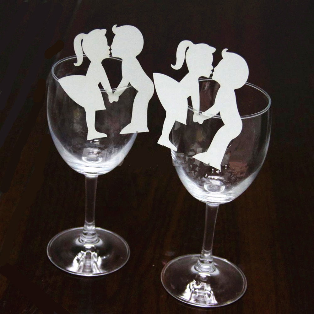 50pcs Creative Lovers Couples Escort Liquor Fluid Wine Glass Paper