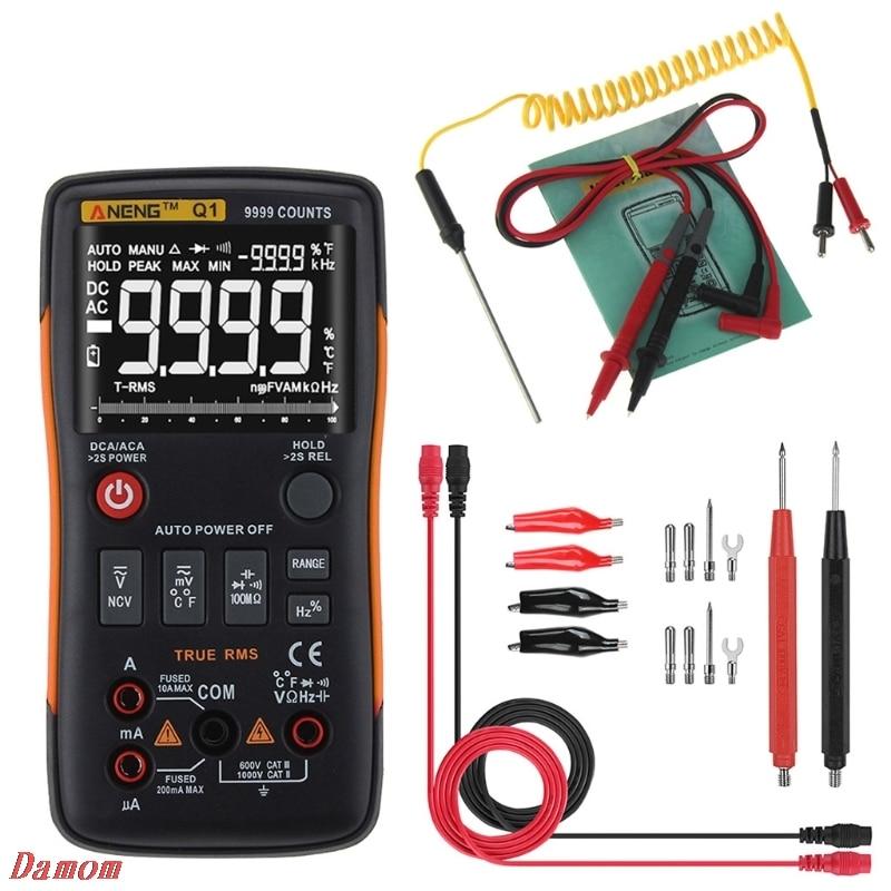 2018 New Q1 True-RMS Digital Multimeter Button 9999 Counts Analog Bar Graph AC/DC Tester