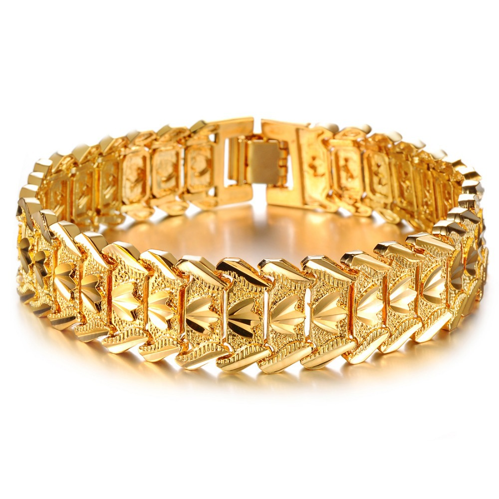 Opk Jewelry Hot Sale Luxury Gold Color Men's Chain Bracelet Wide Cuff  Chunky Link Chain Attractive
