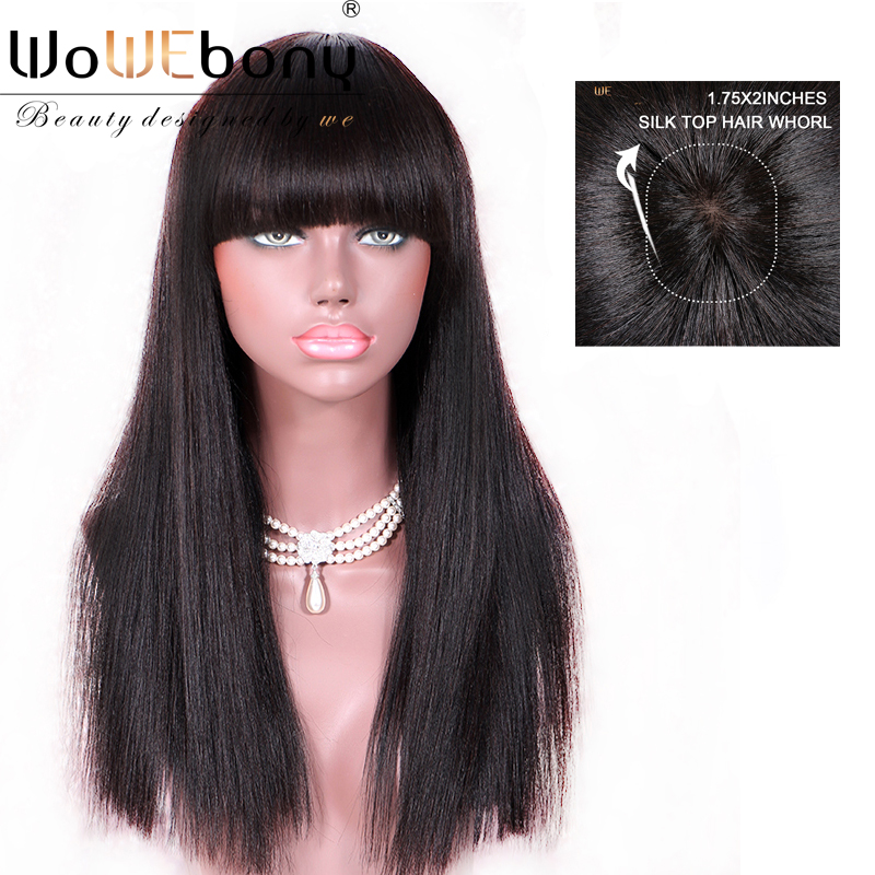 Yaki Straight Glueless Lace Front Human Hair Wigs With Full Bangs Brazilian Remy Hair Regular Yaki Silk Top Lace Wig Whorl