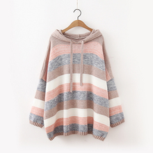 coloridas lã pulôver capuz