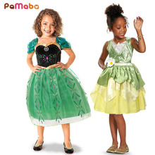 PaMaBa Kid Green Princess Anna Summer Clothes and the Frog Tiana Cosplay Costume Girls Sleeping Beauty Rapunzel Dresses