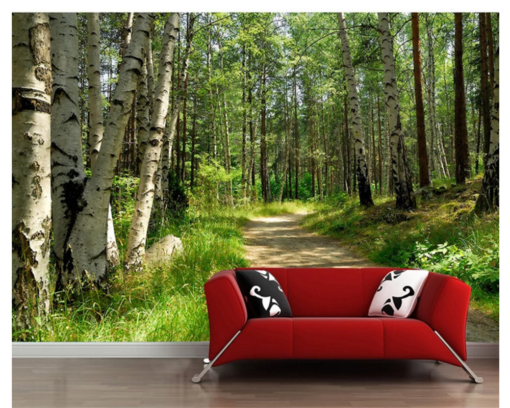 beibehang wallpaper green forest birch landscape TV background wall papel de parede wallpaper for walls 3 d photo wall mural beibehang wallpaper green environmental protection solid color gray blue hotel hotel background wallpaper 3 d papel de parede