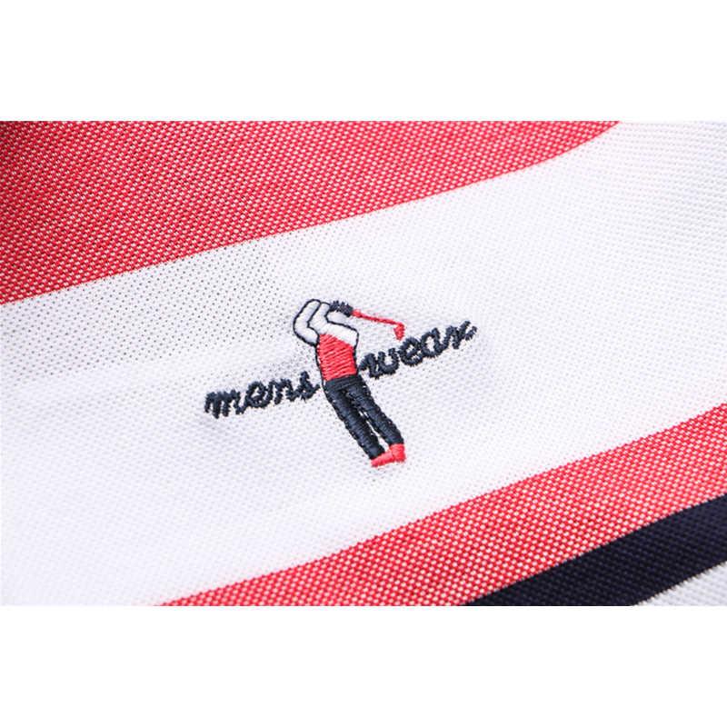 TACE & SHARK Brand Hoge Kwaliteit 2018 Mannen Mode Toevallige Golfed Logo Polo Shirts Katoenen Shirt Mannelijke Streep Polo Shirt kleding