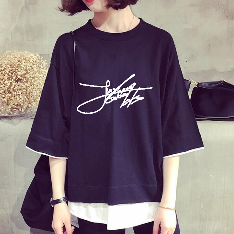New Kpop BT21 Bantan Boys BTS Members Name Printed Cotton False Two T Shirt Navy Short Sleeve Jimin Suga V Summer Tops Clothes
