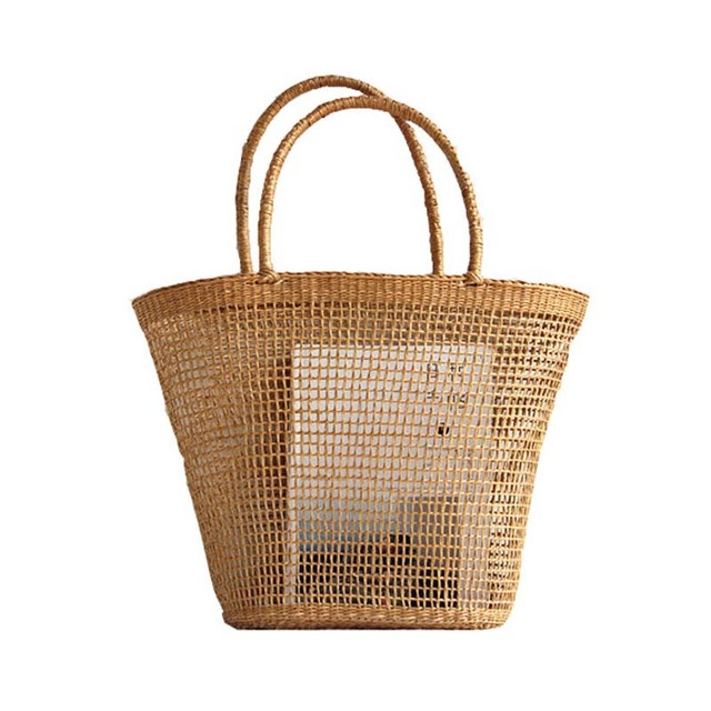 2018 シンプルで寛大な無装飾無地ネット中空質感不織布バッグ人気わらバッグハンドバッグ 37 × 25 センチメートル