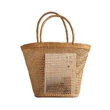 2018 basit ve cömert hiçbir dekoratif düz renk Net içi boş dokuma dokuma çanta popüler hasır çanta çanta 37x25CM