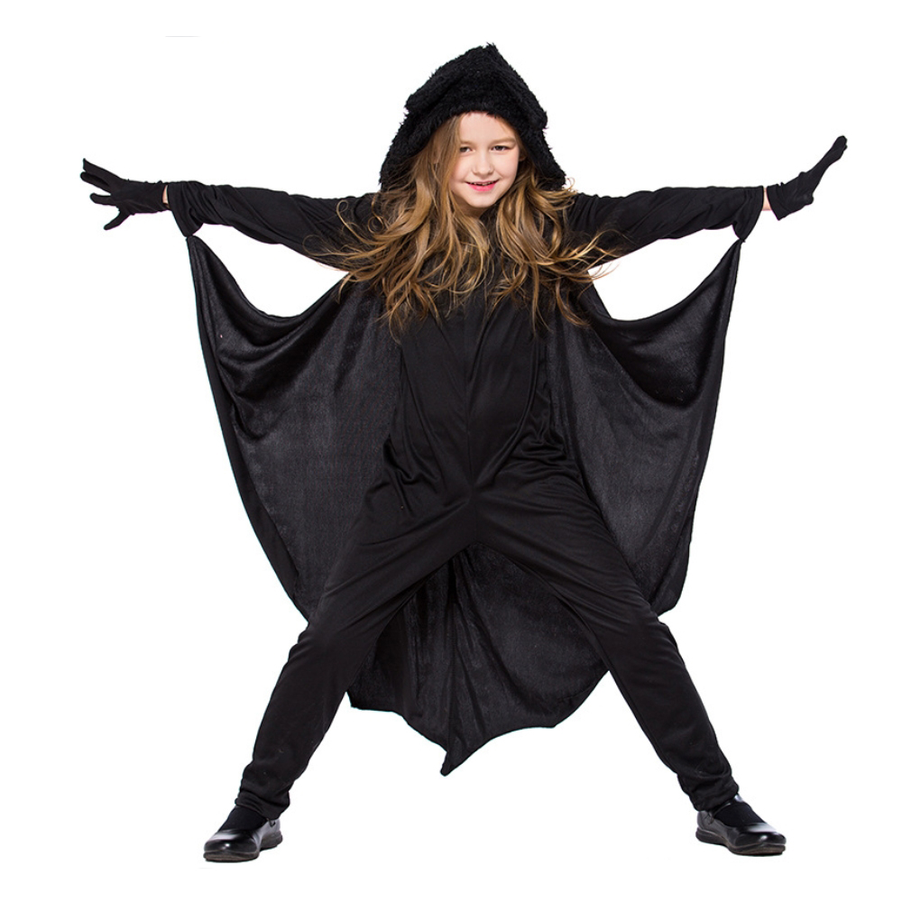 Halloween Costumes for Kids Unisex Children Cute Animal Bat Cosplay Jumpsuits With Hat Stage Bat Costume For Girls Outfit S-XL