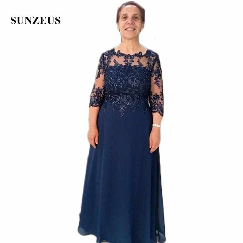 Navy Blue Chiffon Mother of the Bride Dress Plus Size Three Quarter Sleeve  A-Line Groom Mother Gowns Wedding Party Dresses SMD72