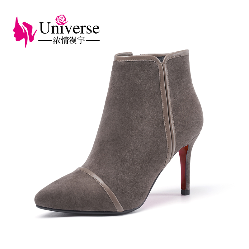 Universe kid suede women high heel boots black camel gray colour boots pigskin lining ladies ankle boots G324 universe pearl decorated elegant women ankle boots black suede leather chunky heel dress boots g404