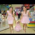 Barato dois 2 peças Vestidos de baile para família pano mãe e filha vestido curto Vestidos de festa de casamento família Outfits Vestidos