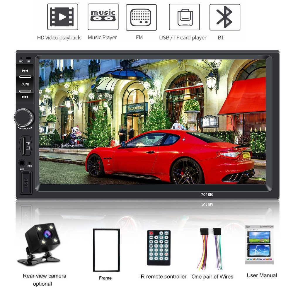 """2 din カーラジオの Bluetooth マルチメディアプレーヤー HD 7 """"タッチスクリーン autoradio 2din 自動オーディオ、カーステレオ MP5 USB TF FM リアビューカメラ"""