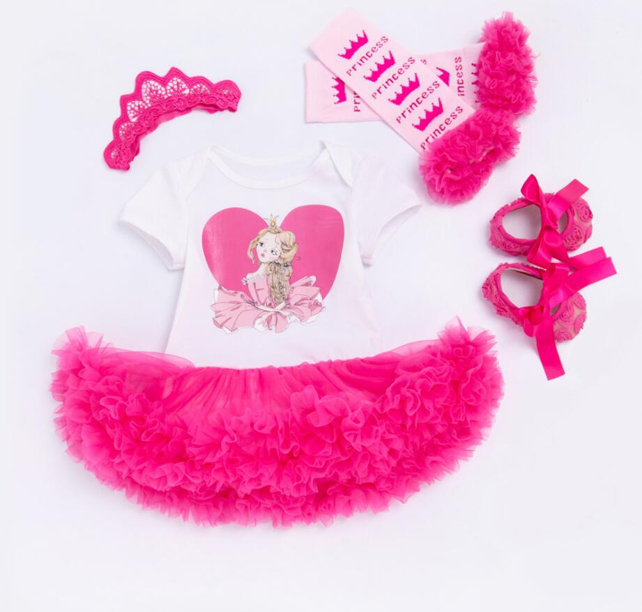 4PCs per Set Hot Pink Princess Baby Girls Tutu Dress Jumpersuit Crown Headband Retro Flo ...