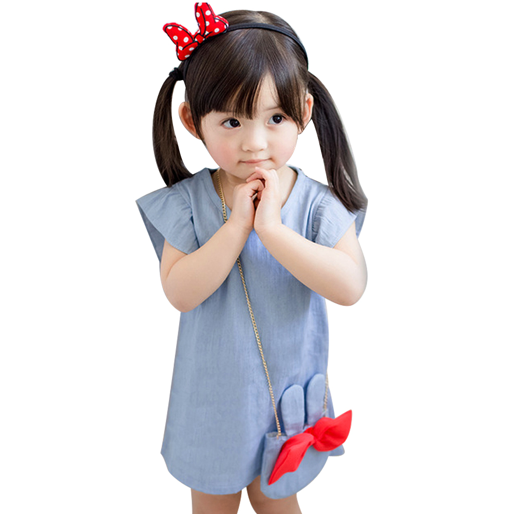 Baby Kids Girl Solid Dress Ruffles Short Sleeve Demin Dresses+Cute Rabbit Bag Outfits Girls Summer Casual Clothes 2pcs cute newborn baby girl clothes 2017 summer solid color ruffles baby romper bunny hat outfits sunsuit kids clothing 0 24m
