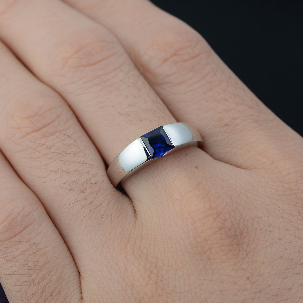 Leige bijoux Solitaire bague saphir septembre pierre de naissance carré coupe lunette réglage argent 925 anneaux pour femmes cadeau de noël - 2