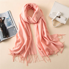 2018 Luxury Brand Autumn Winter Solid Color Scarves For Women Shawls Pashmina Pure Long Cashmere Muslim Headscarf Hijabs Muffler