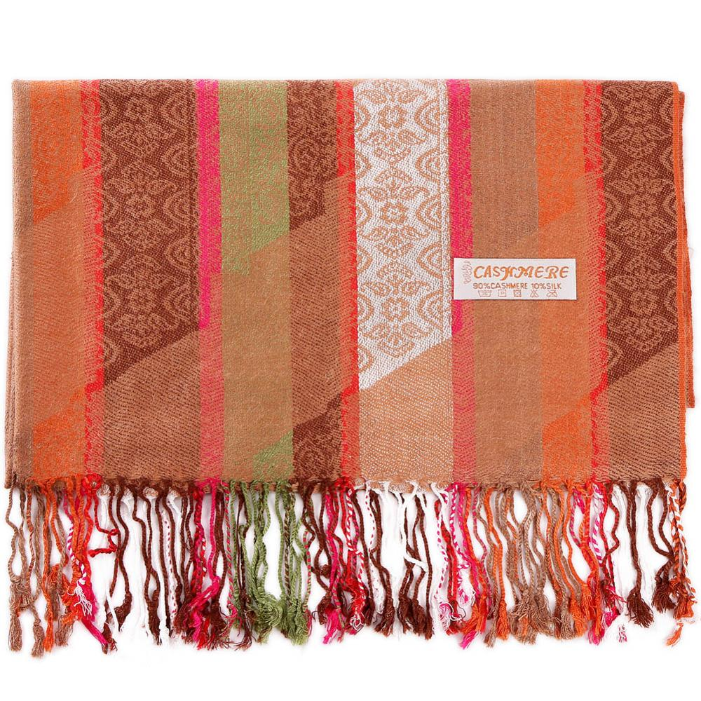 Pashmina Silk Shawl Paisley Stripes   Scarf     Wrap   Hijab Stole Autumn Spring Winter Soft Long Gift Cashmere Warm Top Quality Camel