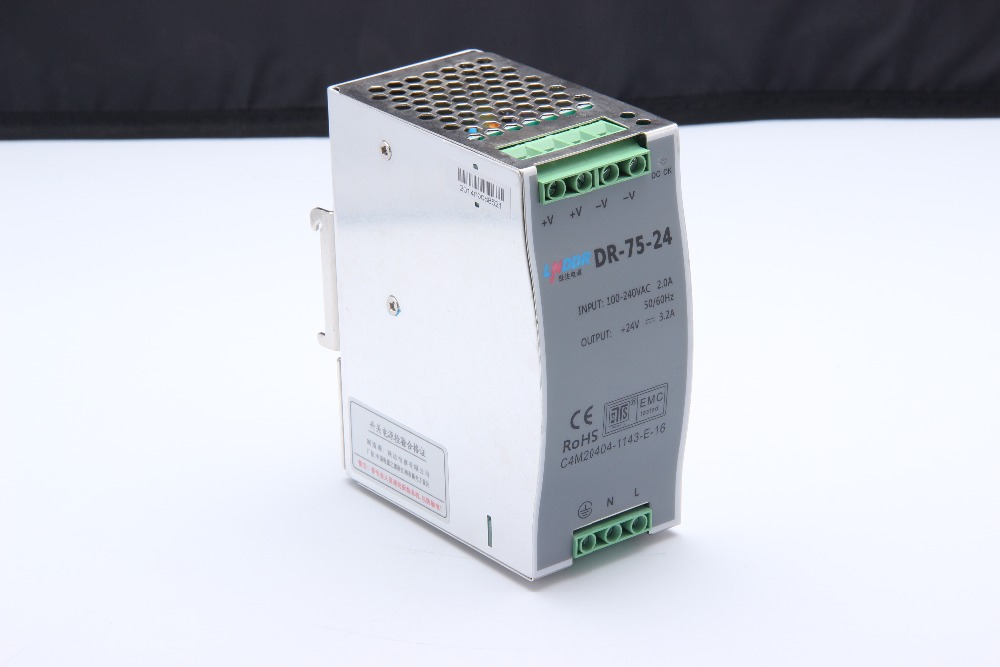 DR-75-24 75W 24V switch power source (85-264VAC input) 75W 24vdc din rail power supply цена
