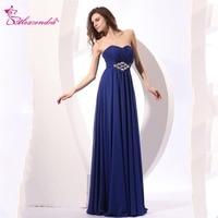 Alexzendra Royal Blue Chiffon Beaded Prom Dresses Strapless Simple Party Dress Evening Dresses Plus Size