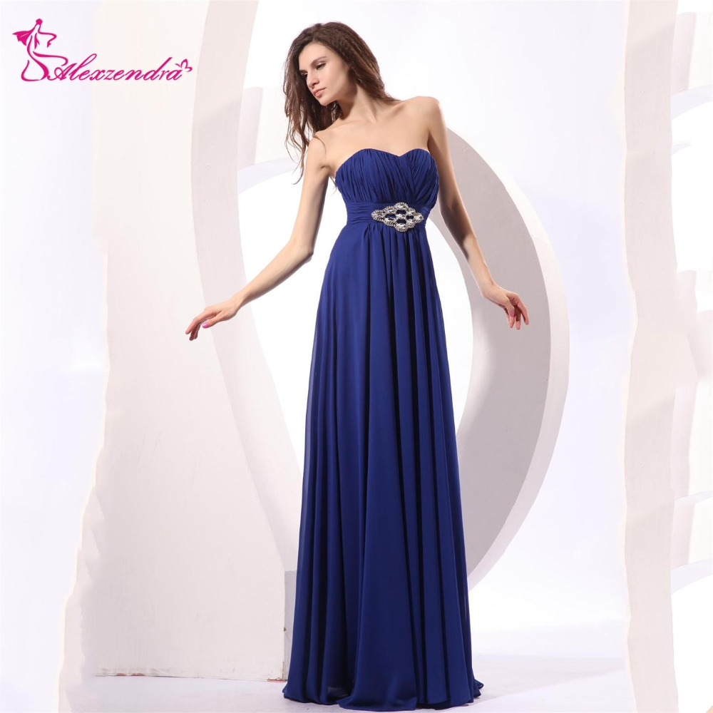Alexzendra Royal Blue Chiffon Beaded   Prom     Dresses   Strapless Simple Party   Dress   Evening   Dresses   Plus Size