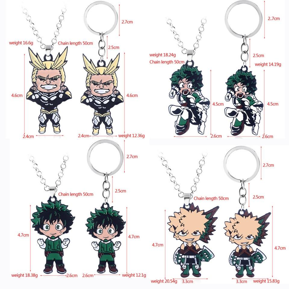 My Hero Academia Keychain Izuku Midoriya Katsuki Bakugou All Might Shoto Todoroki Metal Pendant Key Chain Choker Jewelry