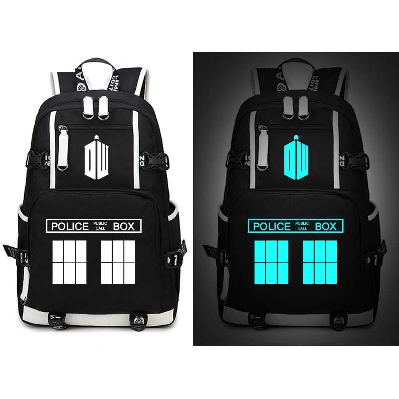 Doctor Who Police box Backpack Glow In Dark Luminous Travel Book Bags Cosplay Men Women Student