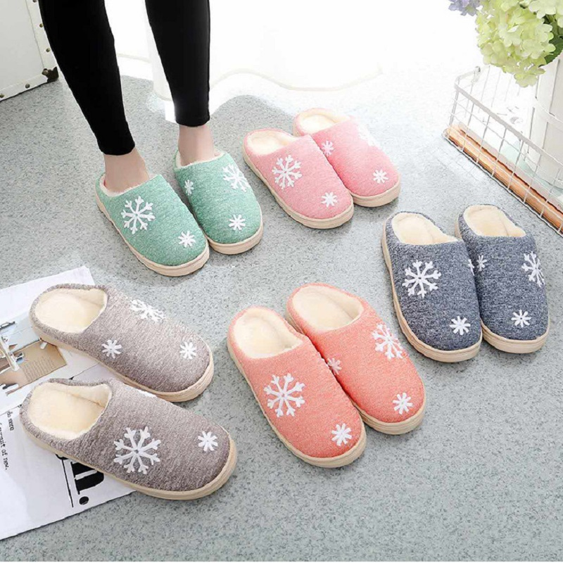 QICIUS 2017 New Rubber Sole Lovers Winter Plush Warm Slippers Women Home Slippers Indoor Cotton Plush Size House Shoes B0068 plush winter slippers indoor animal emoji furry house home with fur flip flops women fluffy rihanna slides fenty shoes