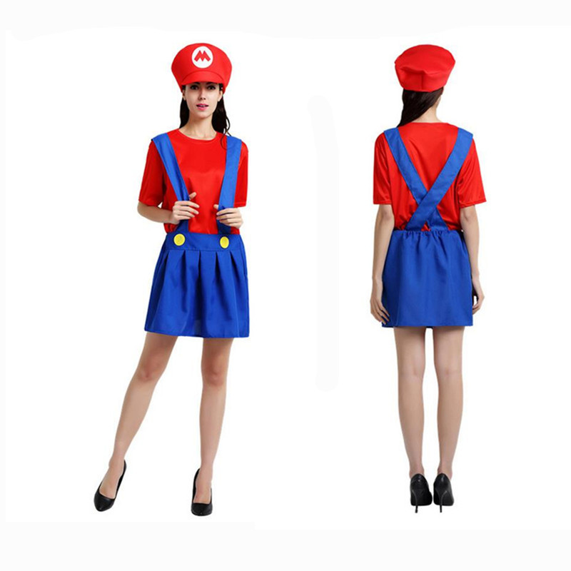 Adult Super Mario Costumes Women Red Clothing Sexy Plumber Costume Super Mario Bros Costumes For Halloween Party Clothing