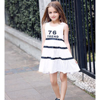 Retail Kids Girls Summer Dresses 2016 Cotton Striped Dress For Teenage Girls Off Shoulder Dress For