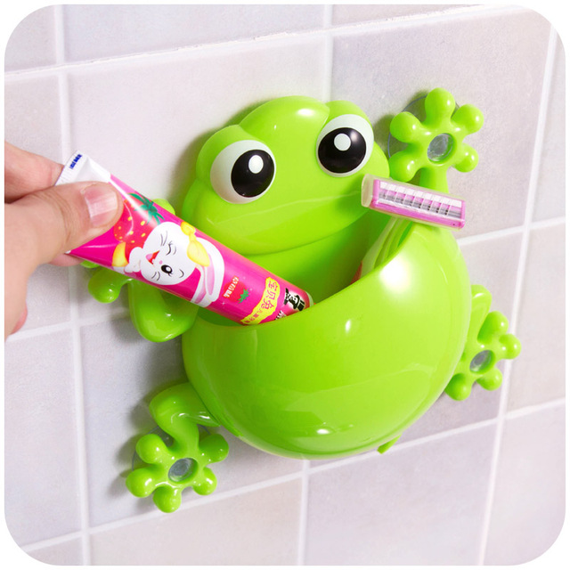 WHISM Funny Gecko Toothbrush Holder Cute Sucker Tooth Brush Holder Suction Cup Bathroom Accessories Set