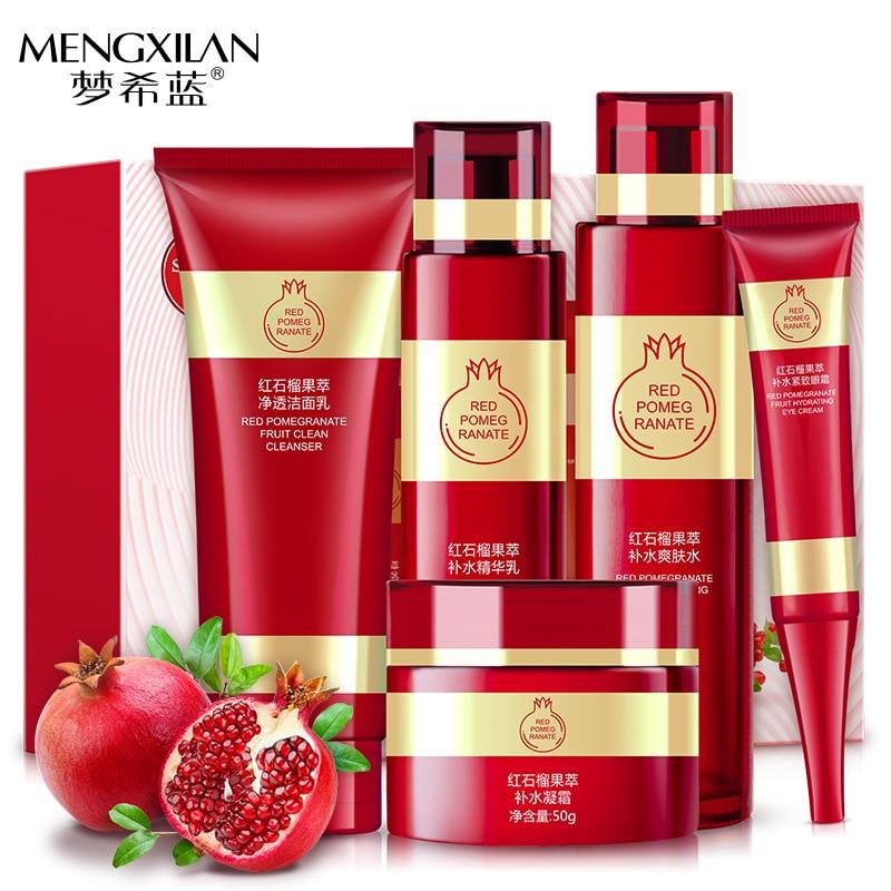 5 pcs/lot MENGXILAN Essence de grenade rouge hydratant en profondeur nutritif crème pour le visage soins de la peau Anti-rides blanchiment du visage ensemble