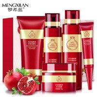 5pcs/lot MENGXILAN Red Pomegranate Essence Deep Moisturizing Nutritious Face Cream Skin Care Anti Wrinkle Whitening Facial Set