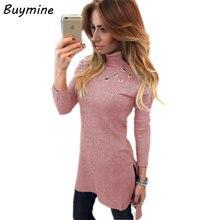 Buymine Long Sleeve Turtleneck Sweater Winter 2017 New Side Split Long Knitted Sweater Women Oversize Solid Pullovers Female XXL