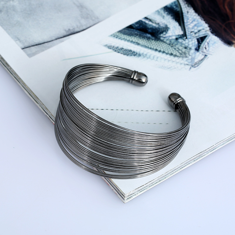 Multilayer Metal Wire Bangle Cuff for Women