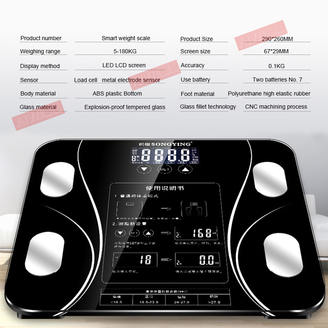LED Screen Body Grease Electronic Weight Scale 4